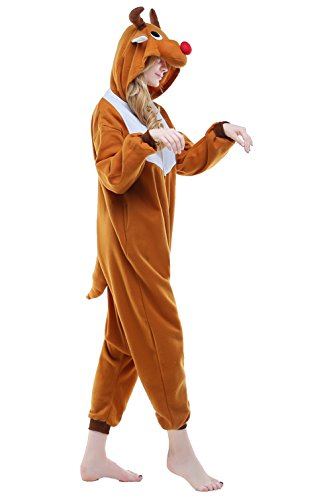 Adult Cosplay Costume Pajamas Animal Jumpsuit Outfit Anime Makeup Partywear-Brown - Brown Elk