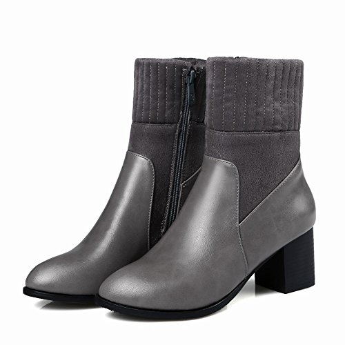 Charm Foot Womens Chunky Heel Zippers Mid Calf Boots Grey Fhh3ddKn2
