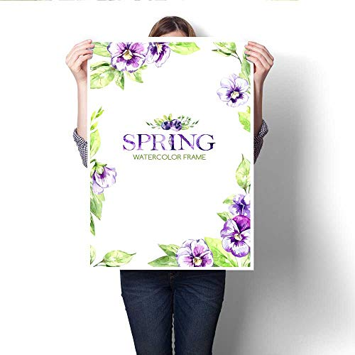 Wall Art Canvas Prints Hand painted frame with watercolor spring flowers and leaves Original hand drawn illustration Pansies flowers template design Botanical texture Invitation card Print Paintings