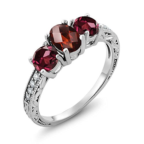 Gem Stone King 2.12 Ct Oval Checkerboard Red Garnet Red Rhodolite Garnet 925 Sterling Silver Ring (Size 8)