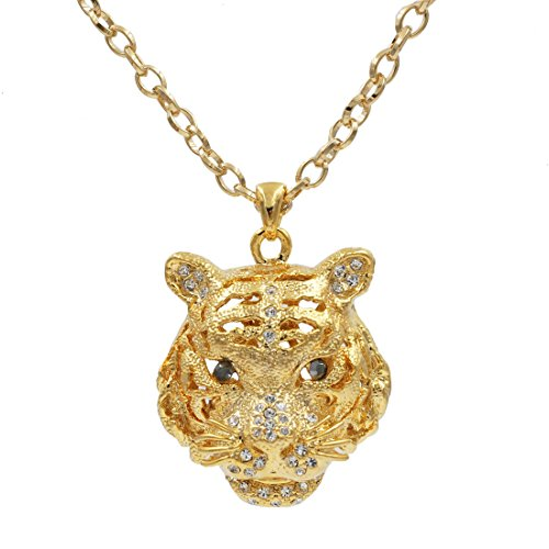 UNIQSUM Large Black Eyes Tiger Cubic Zirconia Necklace (Gold) (Gold Eye Chain Tiger)