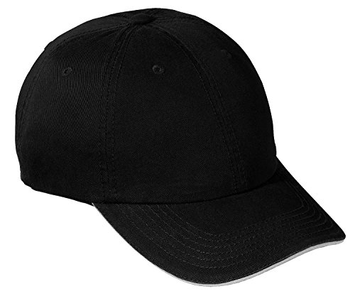 (Port & Company Men's Washed Twill Sandwich Bill Cap OSFA Black/White )