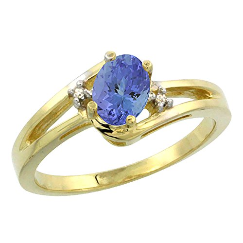 14K Yellow Gold Diamond Natural Tanzanite Ring Oval 6x4 mm, size 8.5 ()