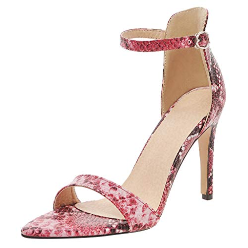 iYBUIA Women's Snake Print Ankle Strap High Heels Open Toe Sandals High Stiletto Pump Snake Sandals Red
