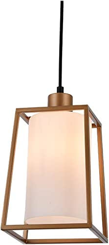 COTULIN Pendant Light,Nordic Metal Iron Frame Square Lantern Mini Pendant Lighting with Cylinder White Glass Lamp Shade for Kitchen Bar Counter,Gold