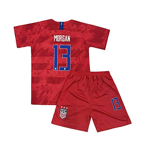 Youth Morgan Jersey 13 Boy's Soccer Away USA Kids Shorts Alex Sizes Red (XL=28(11-13Years Old)) (Childrens Usa Soccer Jersey)