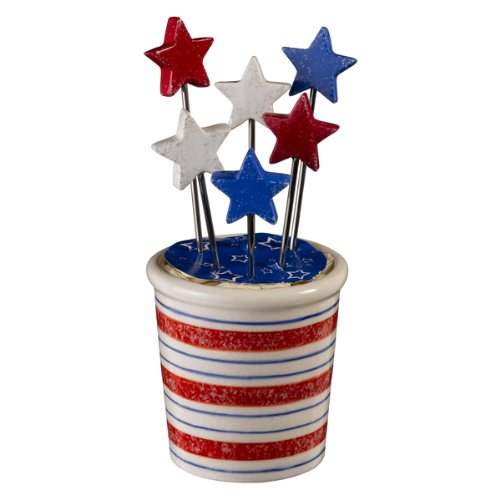 Grasslands Road Backyard BBQ Stars and Stripes Star Appetizer Picks with Holder ()