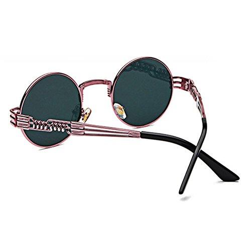 conducción de retro de redondo Rosa sol de gafas Steampunk Púrpura hippy Gafas marco metal Pvwq6UUx