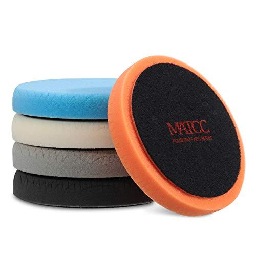 MATCC Polishing Buffing Pads 5 Pcs 6 Inch (150mm) Waxing Pads kit for Drill Buffer Polisher Matching Velcro Backing Pad