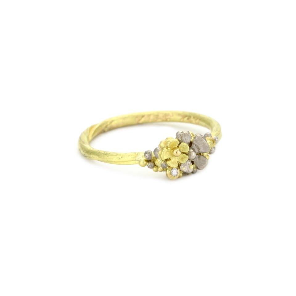 Vibes Fairytale 18 Karat White and Yellow Gold Diamond Ring, Size 6.5
