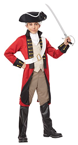 British Red Coat Costume (California Costumes Boys British Redcoat Costume & Tricorn Hat, Red/Black/Tan, Large)