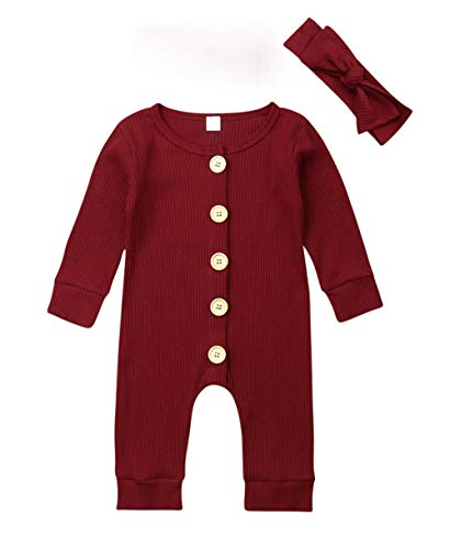 VISGOGO Newborn Baby Girls Boys Kid Solid Colour Bodysuit Sleeveless Romper Jumpsuit + Headband 2PCS Clothes Sets (F-Wine Red, 12-18 Months)