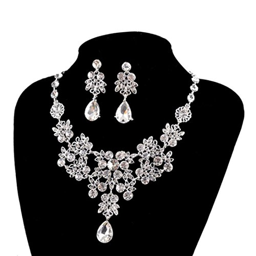 Clearance Women's Earrings Pendant Jewellery Sets Fashion Floral Rhinestone Bride Necklace Wedding
