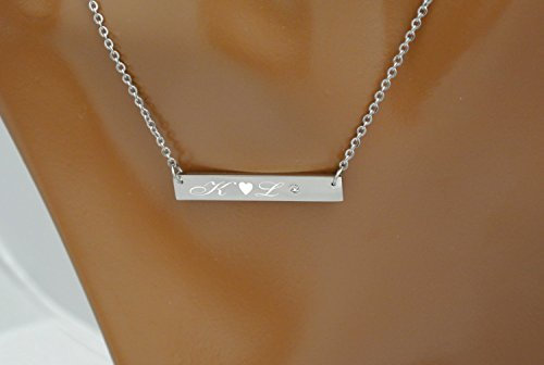 Personalized Silver CZ Stainless Steel Horizontal Name Bar Nameplate Necklace Pendant Engraved Free