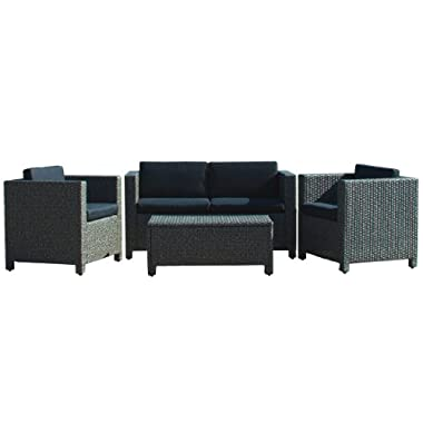 Venice Outdoor Wicker Patio Furniture 4 Piece Grey & Black Sofa Seating Set w/ Cushions