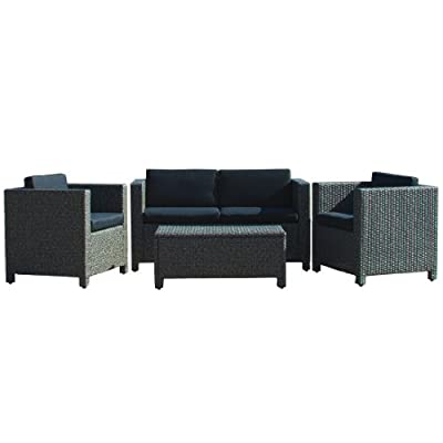 Christopher Knight Home 214136 Puerta Outdoor Wicker Sofa Set, Black - Entertain your guests outdoors while giving them Plenty of room and even a place to Set their drinks or plates Down. With the included plush Cushions, you can chat for hours in the comforts of your backyard. Includes: two (2) Club chairs, one (1) Loveseat, and one (1) table Material: Polyethylene wicker | frame material: Steel - patio-furniture, patio, conversation-sets - 41Jdj4fNYPL. SS400  -