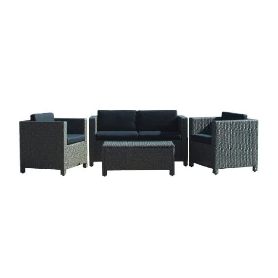 Christopher Knight Home 214136 Puerta Outdoor Wicker Sofa Set, Black - Entertain your guests outdoors while giving them Plenty of room and even a place to Set their drinks or plates Down. With the included plush Cushions, you can chat for hours in the comforts of your backyard. Includes: two (2) Club chairs, one (1) Loveseat, and one (1) table Material: Polyethylene wicker | frame material: Steel - patio-furniture, patio, conversation-sets - 41Jdj4fNYPL. SS570  -