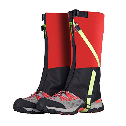 AYAMAYA Hiking Gaiters Waterproof Kids' Snow Leg Gaitors, Breathable High Boots Shoe Cover for Children Snake Ski Gaiters for Outdoor Sports Walking Hunting Climbing Mountain Snowboarding (Red)