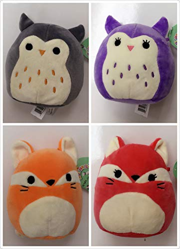 Squishmallow Kelly Toy 4 Pack 5 Inch Plush Super Soft Squishy Stuffed Animals (James The Fox Orange, Fifi The Fox Red, Purple Owl, Gray Owl) - Kelly Stuffed Toy