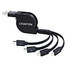 Retractable 4 in 1 USB Cable,Chafon Multifunctional Universal USB Charger Cable with 1xMicro USB/1xUSB C/2x8 Pin Lightning Connectors Works for iPhone,iPad and Android Smartphone-Black(3.3ft/1m)