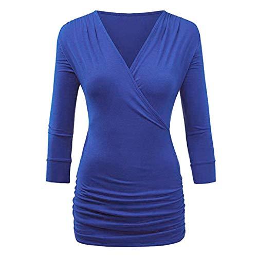 Chemise lgant Fille Solide Blouse Automne Trois Blouse Top Quarts Tops Casual Avant Wrap Mince Long Bleu Femmes Printemps Drap Bellelove tq8Yzz