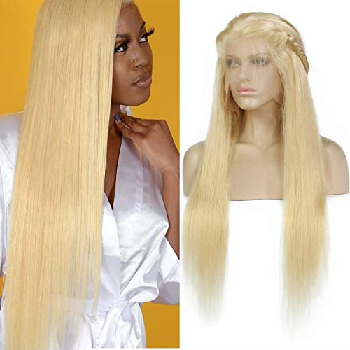 Leeven 26 Inch Blonde Brazilian Virgin Human hair Lace Front Wigs for Women Pre Plucked Long 613 Lace Front Human Hair Wig With Baby Hair Silky Straight 13x4 Lace Full Wigs