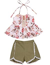 SUPEYA Newborn Baby Girls Floral Halter Top+Solid Color Shorts Beach Party Outfits