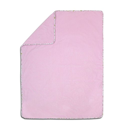 Leila Lavender Velour Baby Blanket with Floral Trim by Petit Tresor ()