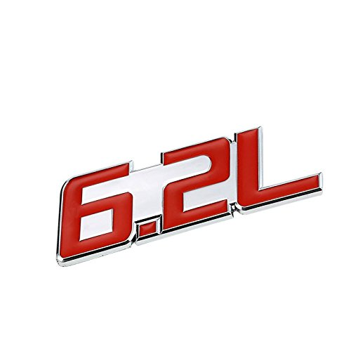 (UrMarketOutlet 6.2L Red/Chrome Aluminum Alloy Auto Trunk Door Fender Bumper Badge Decal Emblem Adhesive Tape Sticker)