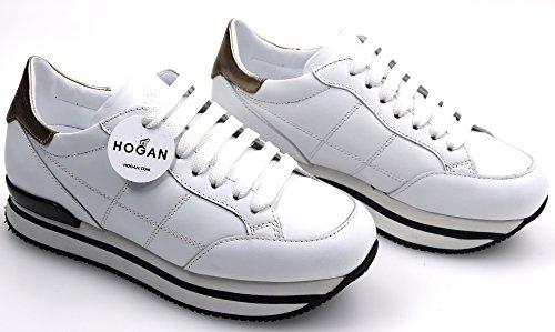 HOGAN H222 WOMAN SNEAKER SHOES LEATHER WHITE CODE HXW2220J060GGA09KI 36,5 BIANCO - WHITE