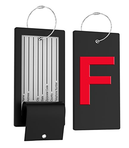 Luggage Tag Initial Bag Tag - Fully Bendable Tag w/Stainless Steel Loop - Cross Cable Instrument