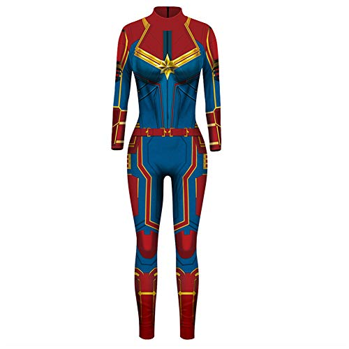 Captain Marvel Costume,Men's Universe One Piece Spiderman Homecoming Costume Jumpsuit -