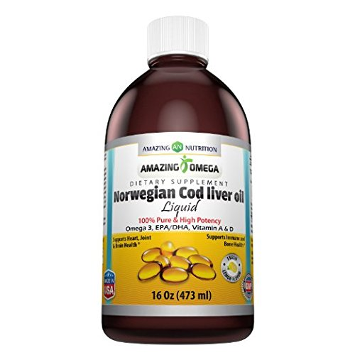 Amazing Omega Norwegian Cod Liver Oil 16 Oz 473 Ml Fresh Lemon - Purest & Best Quality Cod liver Oil, Extracted Under Strict Quality Standards From Around The Waters of Norway - Rich in Omega-3 Fatty