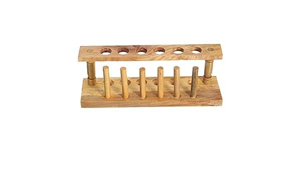 cynken Tubo de ensayo soporte de madera de 6 orificios con secado de laboratorio equipo bureta soporte: Amazon.es: Amazon.es