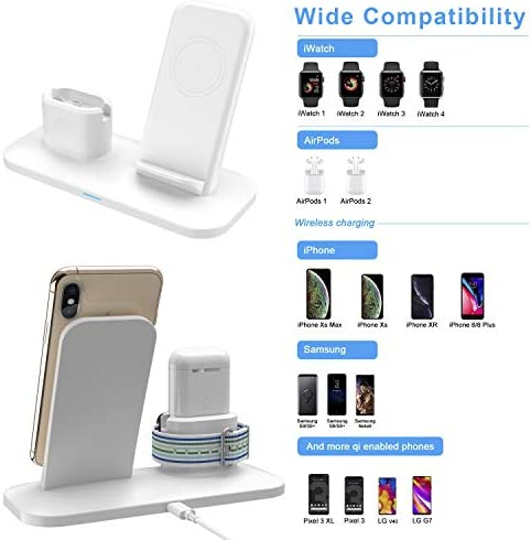 Wireless Charger, 3 in 1 Wireless Charging Station for Apple Watch and iPhone Airpods, Wireless Charging Stand Compatible for Apple iPhone X/XS/XR/Xs Max/8/8 Plus Apple Watch Series 4 3 2 1 Airpods 41Jdm4z3XNL