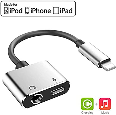 for iPhone Adapter to 3.5 mm Headphone Jack Dongle Accessory AUX Audio Charger Adapter,2 in 1 Earphone Audio Jack Cable Support Compatible for iPhone 7//7 Plus//8//8 Plus//X//XR//XS MAX Support All iOS