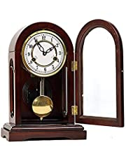 Olid Wood Mantel Clock, Vintage Pendulum Mantle Clock Mechanical Mantel Clocks for Living Room Decor Can Open The Clock Door for Living Room Decor