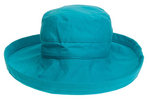 Scala Collezione Women's Cotton Big Brim Inner Drawstring Hat, Lagoon, OS (Hat Scala Canvas)