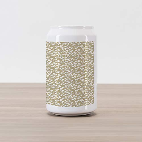 Ambesonne Vine Cola Can Shape Piggy Bank, Vineyard Garden Theme with Silhouette Grapevines and Bunch of Grapes Pattern Print, Ceramic Cola Shaped Coin Box Money Bank for Cash Saving, Tan and White