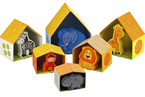 HABA Peekaboo Zoo - Nesting & Stacking Matching Game with 6 Sturdy Cardboard Houses & 6 Wood Animals by HABA