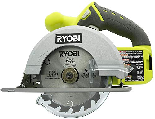 Ryobi One+ 18 V Lithium Ion Cordless 5 1/2 Inch Circular Saw P504G, (Bare Tool Only, Non-Retail Packaging)