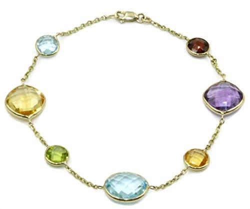 Multi-Color Gemstone Bracelet,14k Yellow Gold Lobster Lock, 8