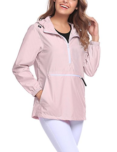 Easther Women#039s Rain Jacket Front Pocket Windproof Waterproof Hooded PulloverPinkLarge