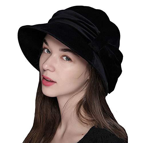 (FADVES Womens Velvet Hats Wide Brim Fedora Bowler Cap Cloche Elegant Church Hat Black)