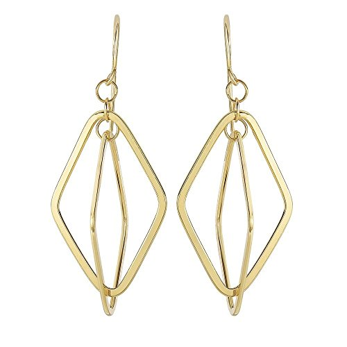 14k Yellow Gold 48x19mm Shiny 2 Square Tube Long Open Diamond Shape Drop Earrings Euro Wire Clasp