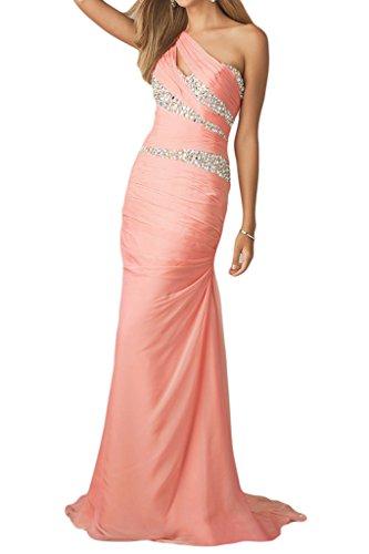 Chiffon Festkleid Schulter Abendkleid Strass Damen Abendmode Lang Missdressy Ein Neu Wassermelon Partykleid vIBfwx