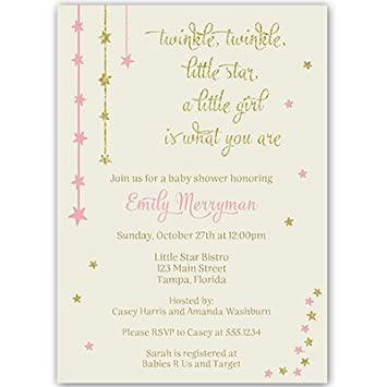 Amazon Com Twinkle Little Star Baby Shower Invitations Pink