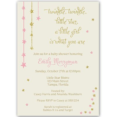 Twinkle Little Star, Baby Shower Invitations, Pink, Gold, Ivory, Glitter, Sparkle, Girls, Over the Moon, Wish Upon a Star, Customized, 10 Printed Invites and Envelopes, Twinkle Star (Girl Shower Baby Invitations Wording)