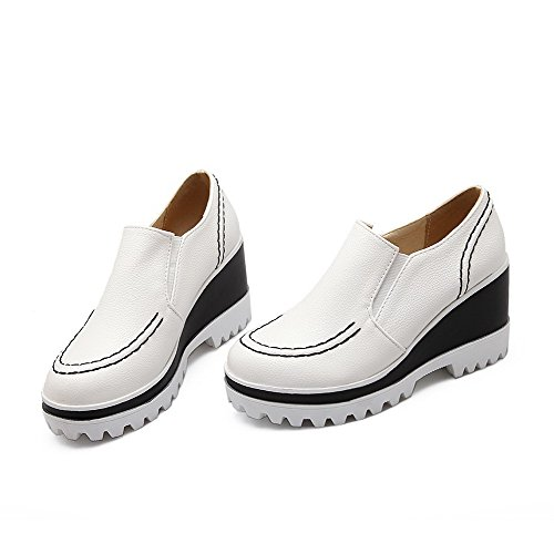 AllhqFashion Damen PU Leder Rein Ziehen auf Rund Hoher Absatz Zehe Pumps Schuhe Weiß