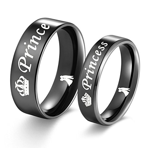 Amazing Prince and Princess Titanium Stainless Steel Wedding Band Set Anniversary Engagement Promise Ring